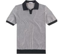 Polo-Shirt Polo Baumwoll-Strick weiß-marine gemustert