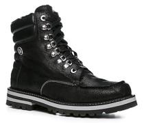 Herren Schuhe Boot Leder warm gefüttert schwarz schwarz,schwarz