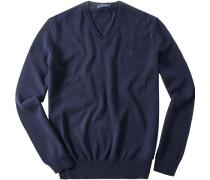 Herren Pullover Merinowolle navy blau