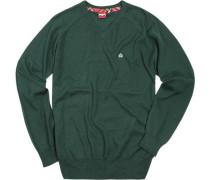 V-Pullover Wolle dunkelgrün