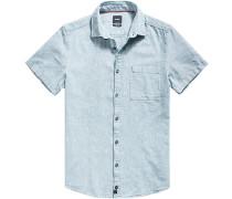 Hemd, Modern Fit, Baumwolle-Leinen, petrol meliert