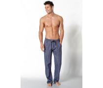 Pyjamahose Baumwoll-Flanell jeansblau gemustert