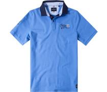 Herren Polo-Shirt Polo Baumwoll-Piqué himmelblau weiß