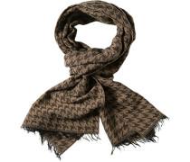 Schal, Baumwolle, hellbraun-dunkelbraun gemustert