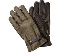 Handschuhe, Leder-Wolle, schilf kariert-dunkelbraun