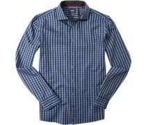 Hemd, Modern Fit, Popeline, marineblau-taubenblau kariert