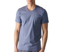 Herren T-Shirt Baumwolle denim meliert blau