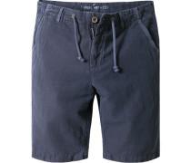 Herren Hose Bermudas Leinen-Baumwolle marine blau