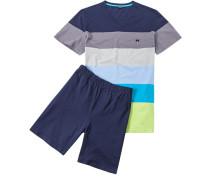 Herren Schlafanzug Pyjama Baumwolle marine gestreift blau