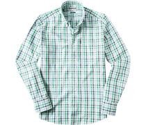 Hemd, Tailored Fit, Oxford, hellgrün-marineblau kariert