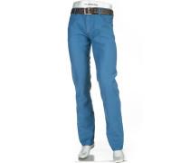 Herren Jeans Modern Fit Leinen-Mix blau