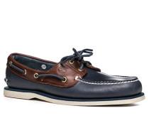 Bootsschuhe Leder marineblau-braun