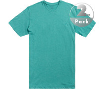 T-Shirts Regular Fit Baumwolle türkis meliert