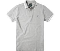Polo-Shirt Polo Slim Fit Baumwoll-Piqué hellgrau meliert