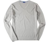 Herren Pullover Seiden-Baumwoll-Mix grau meliert beige