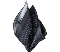 Herren Accessoires  Einstecktuch Seide rauchblau-weiß gemustert grau