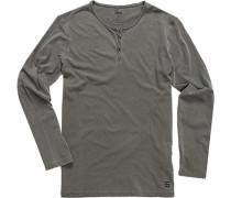 Herren Langarm-Shirt Baumwolle asphaltgrau