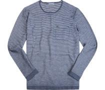 Pullover, Baumwolle, rauchblau-off white gestreift