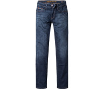 Jeans Straight Fit Baumwoll-Stretch jeansblau