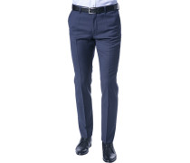 Hose, Slim Fit, Schurwolle Super100, marine-royal meliert