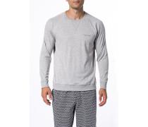Schlafanzug Sweater, Baumwolle, meliert