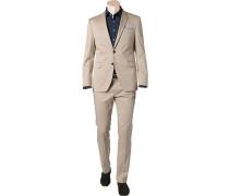 Herren Anzug Shaped Fit Baumwoll-Stretch beige