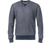 Pullover Kaschmir-Baumwolle navy meliert