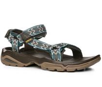 Schuhe Sandalen Textil petrol-weiß gemustert
