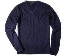 Pullover Merinowolle dunkelblau meliert