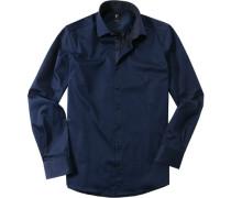 Herren Hemd Chambray navy blau