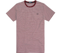 Herren T-Shirt Baumwolle bordeaux-weiß gestreift rot