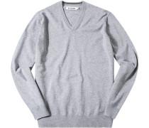 Herren Pullover Pulli Modern Fit Baumwolle grau meliert
