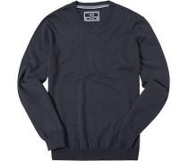 Herren Pullover Baumwolle navy meliert blau
