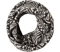 Schlauchschal, Wolle-Kaschmir, -weiß gemustert