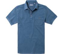 Herren Poloshirt Baumwoll-Piqué blau
