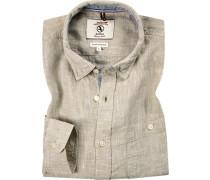 Hemd, Classic Fit, Leinen, meliert