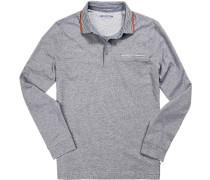 Polo-Shirt Polo, Baumwoll-Jersey, nachtblau meliert