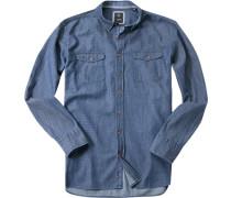 Herren Hemd Modern Fit Chambray jeansblau gemustert