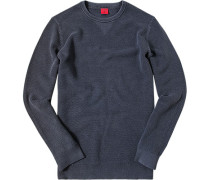 Herren Pullover Body Fit Baumwolle jeansblau