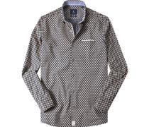 Hemd, Modern Fit, Popeline, tiefseeblau gemustert