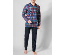 Herren Schlafanzug Pyjama Baumwolle mulitcolor kariert blau