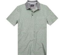 Polo-Shirt Polo Baumwoll-Pique grau-grün gestreift