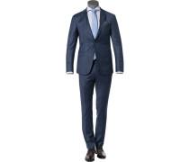 Anzug Slim Fit Schurwolle Super120 blaugrau meliert