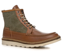 Schuhe Schnürstiefeletten Leder-Textil hellbraun-grün