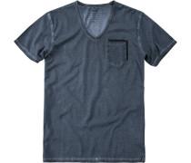 Herren T-Shirt Oberteil Baumwolle tintenblau