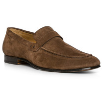 Schuhe Loafer, Veloursleder, haselnuss