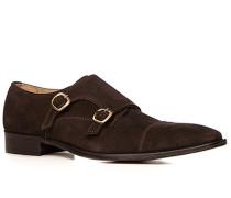 Schuhe Doppelmonkstraps, Veloursleder, kaffeebraun