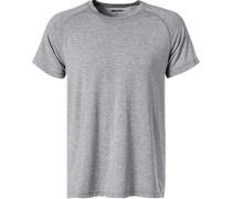 T-Shirt, Mikrofaser, hellgrau meliert