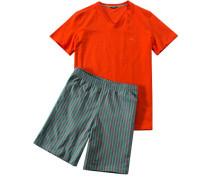 Herren Schlafanzug Pyjama Baumwolle orange gestreift