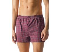 Herren Unterwäsche Boxer-Shorts Baumwoll-Stretch bordeaux-blau gemustert rot
